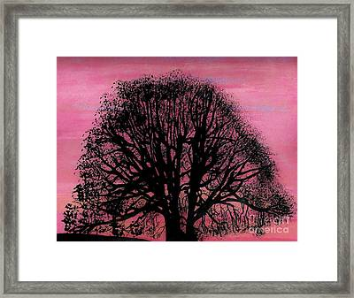 Framed Print featuring the drawing Pink Sunset Tree by D Hackett