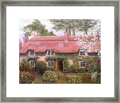 Pink Thatched Cottage Framed Print by Diane Daigle