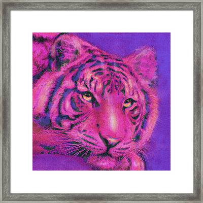 Framed Print featuring the digital art Pink Tiger by Jane Schnetlage
