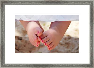 Pink Toes Framed Print by Linda Segerson