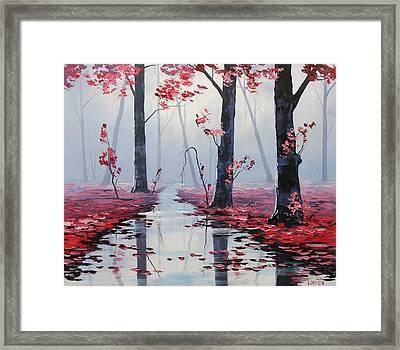 Pink Trees River Landscape Framed Print