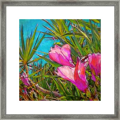 Pink Tropical Flower With Honeybee - Square Framed Print