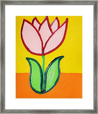 Pink Tulip Framed Print by Matthew Brzostoski