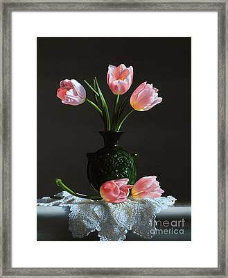 Pink Tulips In A Water Jug Framed Print by Larry Preston