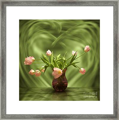 Pink Tulips In Green Room Framed Print