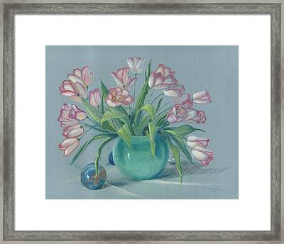 Framed Print featuring the painting Pink Tulips In Green Vase by Dan Redmon
