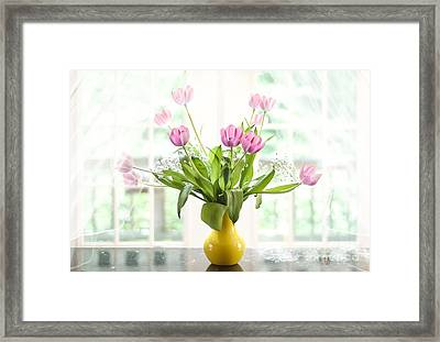 Pink Tulips In The Window Framed Print