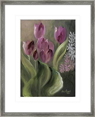 Pink Tulips Framed Print by Nancy Edwards