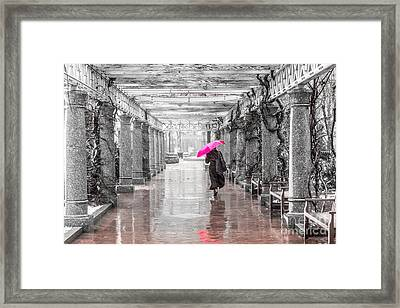 Pink Umbrella In A Storm Framed Print by Susan Cole Kelly Impressions