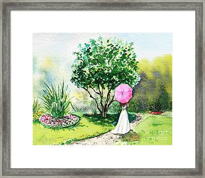 Pink Umbrella Framed Print by Irina Sztukowski