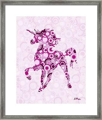 Pink Unicorn - Animal Art Framed Print by Anastasiya Malakhova