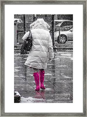 Pink Walk Framed Print by Susan Cole Kelly Impressions