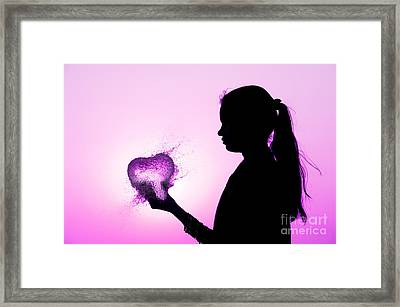 Pink Water Heart Framed Print by Tim Gainey