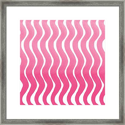 Pink Waves- Abstract Watercolor Pattern Framed Print by Linda Woods