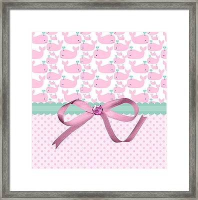 Pink Whales Framed Print
