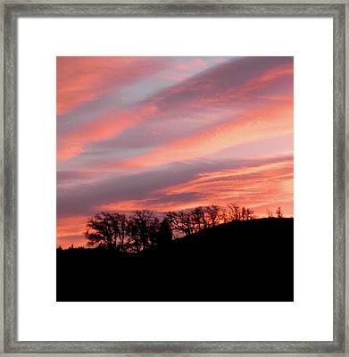 Pinks And Blues With Black Framed Print