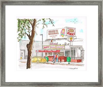 Pinks Chili Dogs, Hollywood, California Framed Print