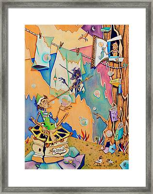 Pinocchio In Venice - Children Book Illustration Framed Print by Arte Venezia