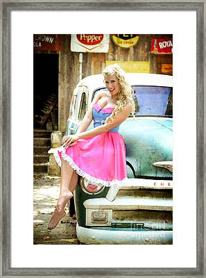 Pinup Girl With Classic Truck Framed Print by Jt PhotoDesign