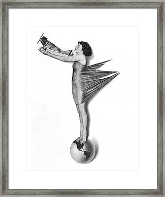 Pinup Woman Holding A Plane Framed Print
