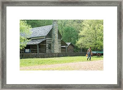 Pioneer Farmer At Work Framed Print by Douglas Barnett