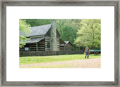 Pioneer Farmer At Work Framed Print