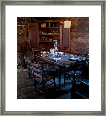 Pioneer Kitchen Table And Cubbard Framed Print by Douglas Barnett