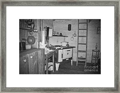 Pioneer Kitchen With Wood Stove Framed Print by Valerie Garner