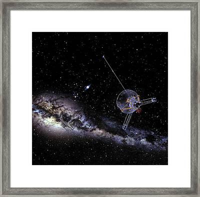 Pioneer Spacecraft In Interstellar Space Framed Print by Nasa
