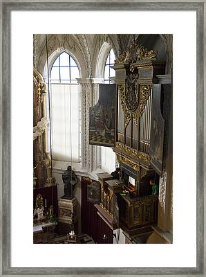 Pipe Organ Stall In Hofkirche (court Church). Framed Print by Dennis K. Johnson