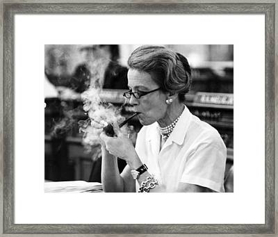 Pipe Smoking Woman Legislator Framed Print by Underwood Archives