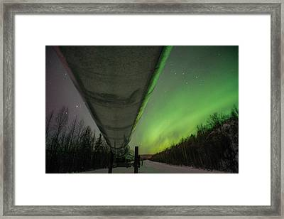 Pipeline And Aurora Framed Print