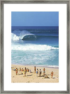 Pipeline Masters  Hawaii  1977 Framed Print by Lance Trout