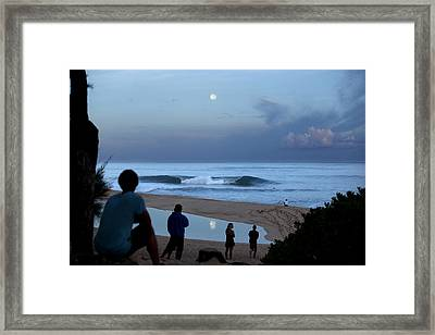 Pipeline Moonset Framed Print by Sean Davey