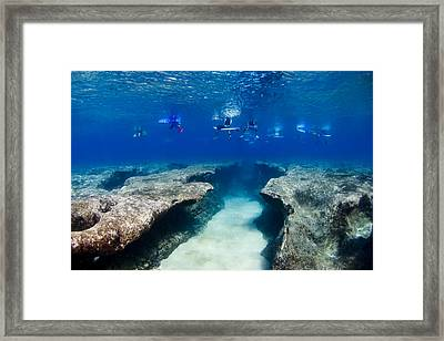 Pipeline's Hungry Reef Framed Print by Sean Davey