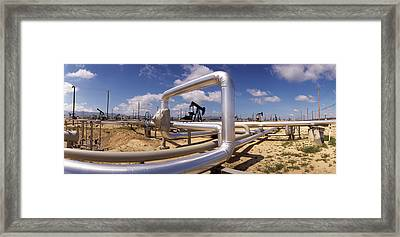 Pipelines On A Landscape, Taft, Kern Framed Print by Panoramic Images