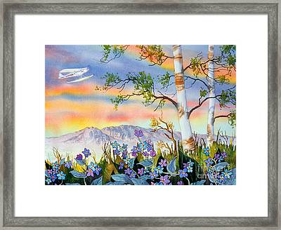 Framed Print featuring the painting Piper Cub Over Sleeping Lady by Teresa Ascone
