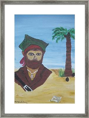 Framed Print featuring the painting Pirate Bust by Martin Blakeley