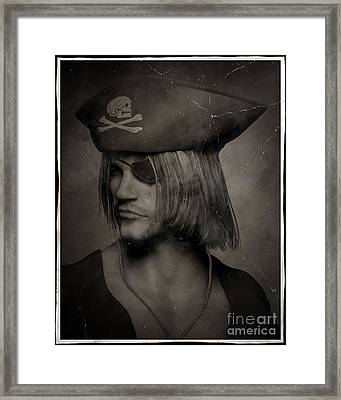 Pirate Captain Portrait - Antique Effect Framed Print by Fairy Fantasies