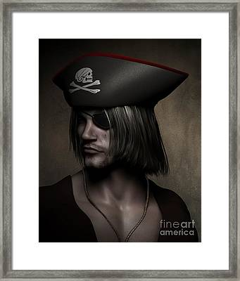 Pirate Captain Portrait Framed Print by Fairy Fantasies