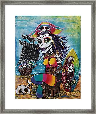 Pirate Girl - Surfs Up Framed Print by Laura Barbosa