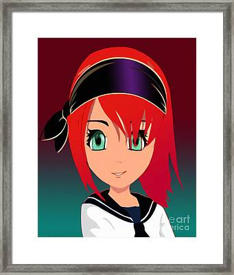 Pirate Manga Girl Framed Print