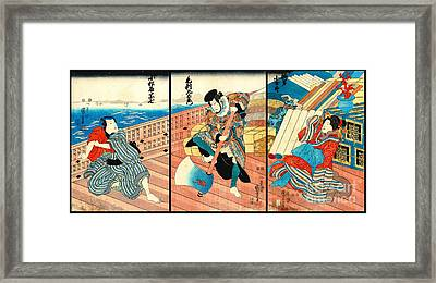 Pirate Merchant And Maiden 1850 Framed Print