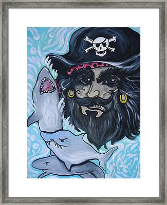 Pirate Shark Tank Framed Print by Leslie Manley