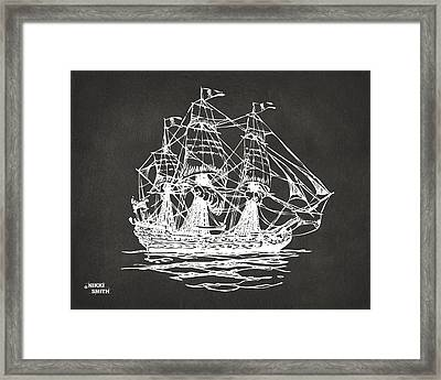Pirate Ship Artwork - Gray Framed Print