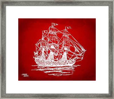 Pirate Ship Artwork - Red Framed Print by Nikki Marie Smith