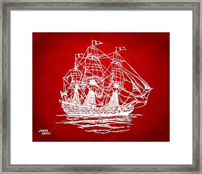 Pirate Ship Artwork - Red Framed Print
