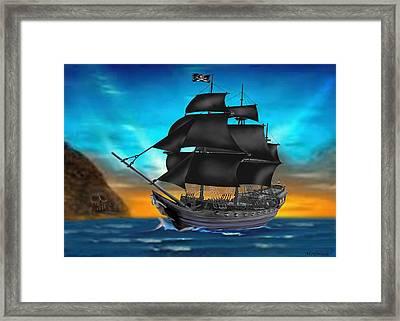 Pirate Ship At Sunset Framed Print