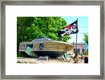 Pirate Ship Flag Of The Skull And Crossbones 2 Framed Print by Lanjee Chee