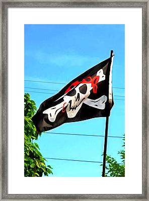 Pirate Ship Flag Of The Skull And Crossbones Framed Print by Lanjee Chee